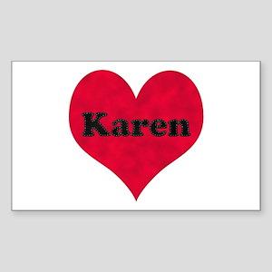 Karen Leather Heart Rectangle Sticker