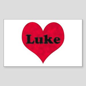 Luke Leather Heart Rectangle Sticker