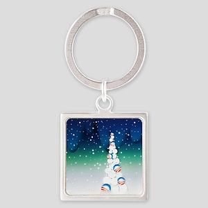 Barack Obama Snowball Christmas Tree Square Keycha