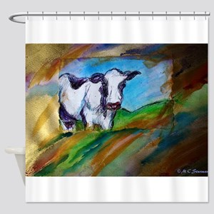 Cow! Bright, animal art! Shower Curtain