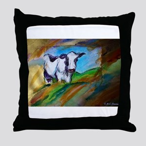 Cow! Bright, animal art! Throw Pillow