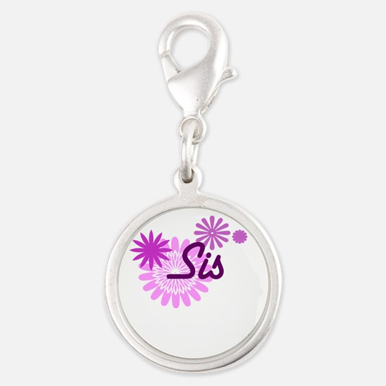 Sis Silver Round Charm
