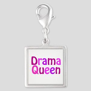 Drama Queen Silver Square Charm