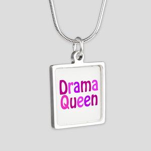 Drama Queen Silver Square Necklace