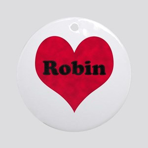 Robin Leather Heart Round Ornament