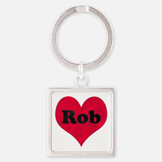 Rob Leather Heart Square Keychain