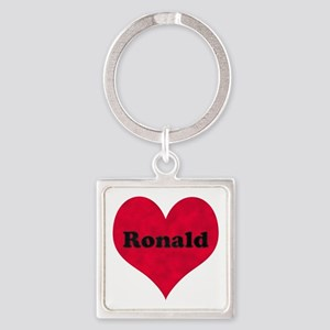 Ronald Leather Heart Square Keychain