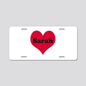 Sarah Leather Heart Aluminum License Plate