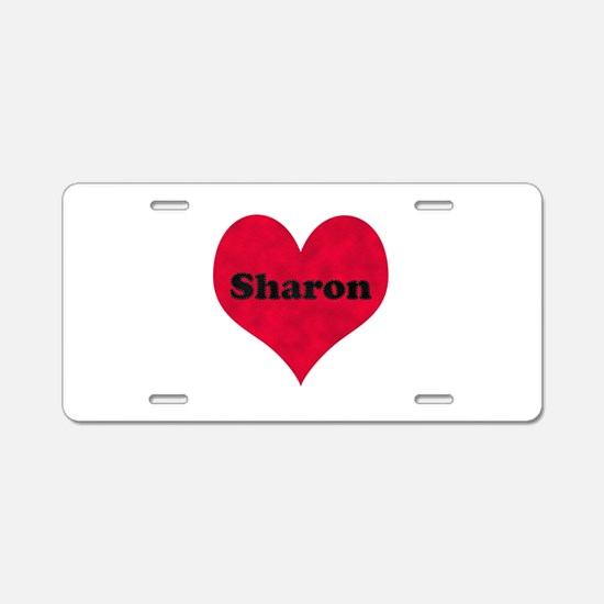 Sharon Leather Heart Aluminum License Plate