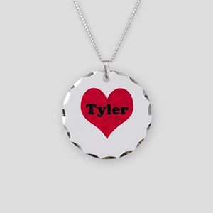 Tyler Leather Heart Necklace Circle Charm