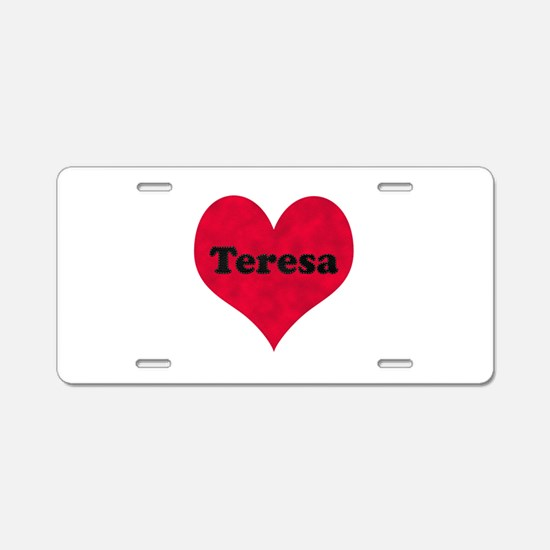 Teresa Leather Heart Aluminum License Plate