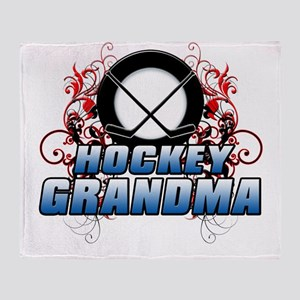 Hockey Grandma (cross) Throw Blanket