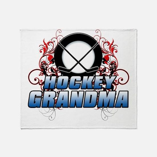 Hockey Grandma (cross).png Throw Blanket