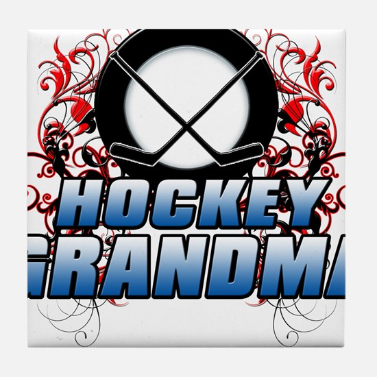 Hockey Grandma (cross).png Tile Coaster