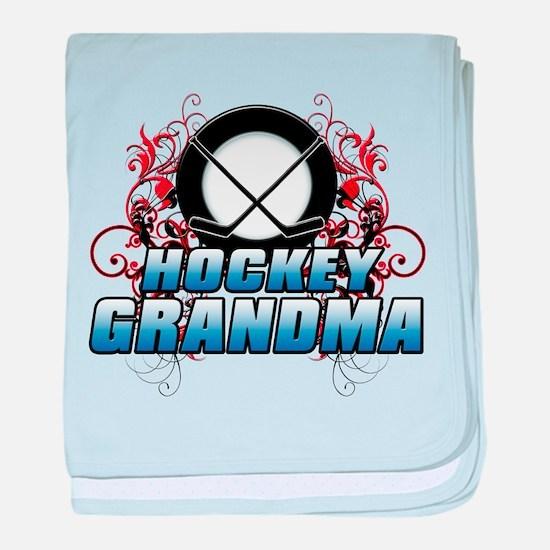Hockey Grandma (cross).png baby blanket