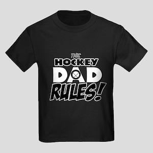 This Hockey Dad Rules Kids Dark T-Shirt