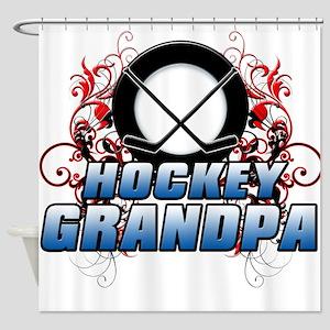 Hockey Grandpa (cross) Shower Curtain
