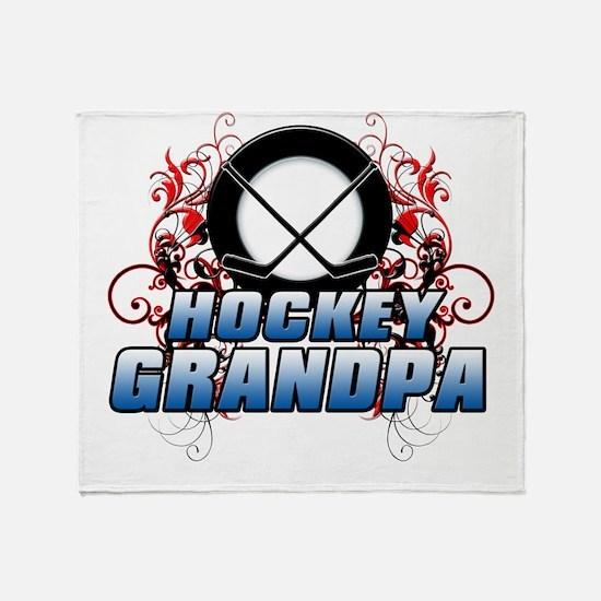 Hockey Grandpa (cross).png Throw Blanket