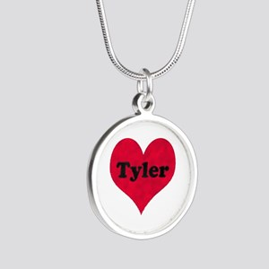 Tyler Leather Heart Silver Round Necklace