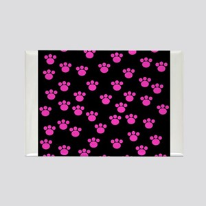 Black and bright pink paw print pattern Magnets