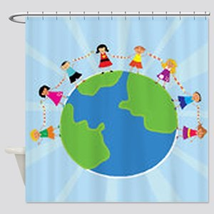 Kids Holding Hands Shower Curtain