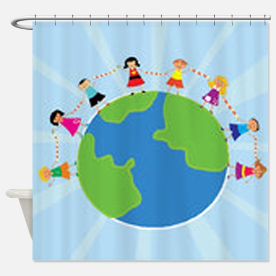 Kids Holding Hands Shower Curtain