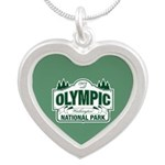 Olympic National Park Green Sign Silver Heart Neck