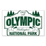 Olympic National Park Green Sign Sticker (Rectangl