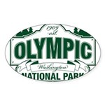 Olympic National Park Green Sign Sticker (Oval 10