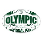 Olympic National Park Green Sign Sticker (Oval)