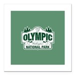 Olympic National Park Green Sign Square Car Magnet