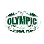Olympic National Park Green Sign Oval Car Magnet