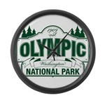 Olympic National Park Green Sign Large Wall Clock