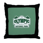 Olympic National Park Green Sign Throw Pillow