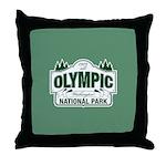 Olympic National Park Green Sign Throw Pillow