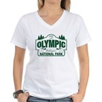 Olympic National Park Green Sign Women's V-Neck T-
