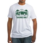 Olympic National Park Green Sign Fitted T-Shirt
