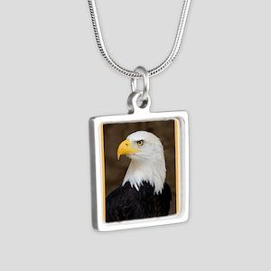 American Bald Eagle Silver Square Necklace