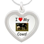 Love My Cows Silver Heart Necklace