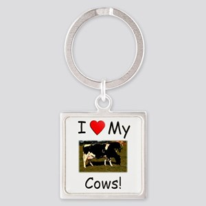 Love My Cows Square Keychain