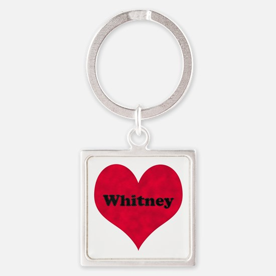 Whitney Leather Heart Square Keychain