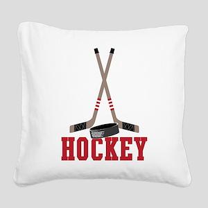 Hockey Square Canvas Pillow