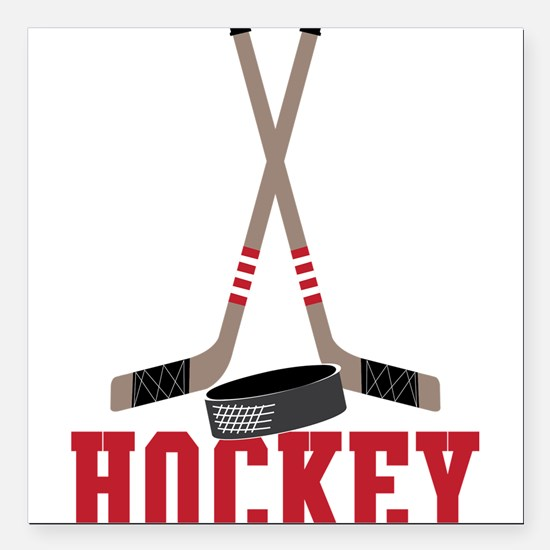 "Hockey Square Car Magnet 3"" x 3"""