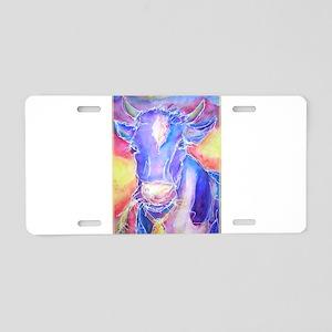 Cow! Colorful, art! Aluminum License Plate