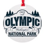 Olympic National Park Blue Sign Round Ornament