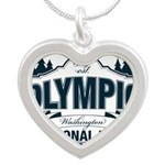 Olympic National Park Blue Sign Silver Heart Neckl