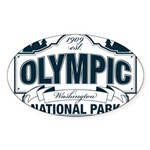 Olympic National Park Blue Sign Sticker (Oval 50 p