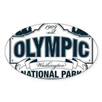 Olympic National Park Blue Sign Sticker (Oval)