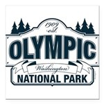 Olympic National Park Blue Sign Square Car Magnet