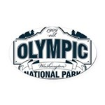 Olympic National Park Blue Sign Oval Car Magnet